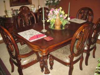Traditional Formal Cherry Wood Dining Room Table Set Chairs Buffet