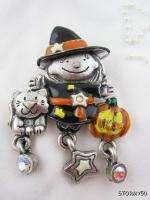 Halloween Witch with Cat Pumpkin JOL Pin Brooch