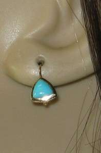Estate Hi End 14k Yellow Gold 1.00ctw Genuine Turquoise Earrings