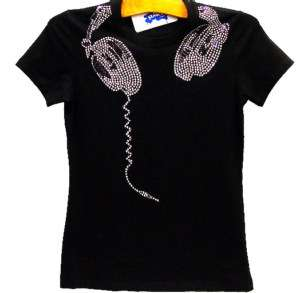 DJ Headphones RhineStone Bling Retro T Shirt Technics S