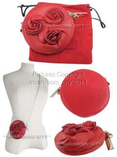 Breathless Valentino Red Leather Roses Round Pouch Chained Shoulder
