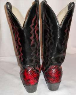 Vintage KENNY ROGERS Red & Black SNAKESKIN Western Cowboy BOOTS USA