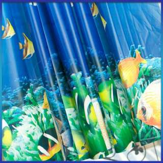 Dolphin Tropical Fish Coral Ocean Bath Waterproof PEVA Shower Curtain