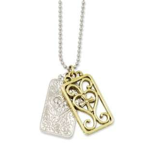 Gold tone, crystal double dogtags w/cross & heart necklace Jewelry