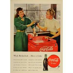 1948 Ad COKE Coca Cola Cooler Work Refreshed Women   Original Print Ad