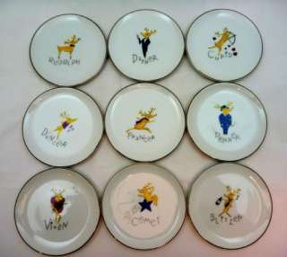 Pottery Barn Reindeer Coasters Christmas Plates Set of 9 Holiday