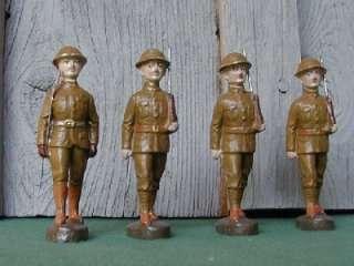 Elastolin, 8 Large Doughboys,1 is Officer,Pre War