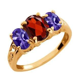 2.30 Ct Oval Red Garnet and Blue Tanzanite 18k Rose Gold