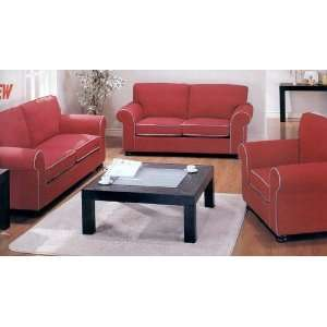 Red Fabric Sofa / Couch, Loveseat, Chair set with White