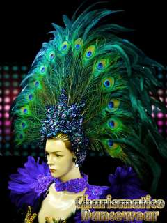 PEACOCK GREEN Drag QUEEN CARNIVAL Feather DIVA Pageant Headdress