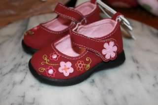 Koala Baby Girls Dress Shoes Pink with Embroidery Size 2 or 5
