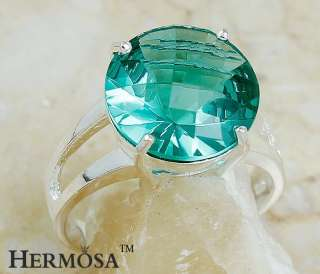 Queen Love Delicate Jewelry Hermosa Round Cut Green Topaz Sterling
