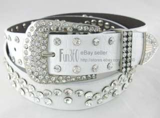 Durable Genuine Soft Leather Swarovski Crystal Belt Buckle Ladies