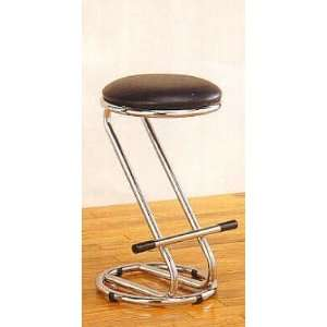 Retro 50s Eames Era Chrome Plated Bar Stool with Black Padded Vinyl