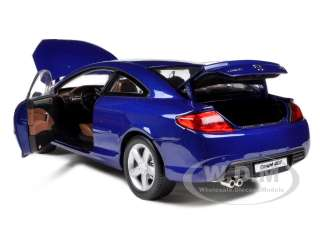 Brand new 118 scale diecast model car of 2005 Peugeot 407 Coupe Blue