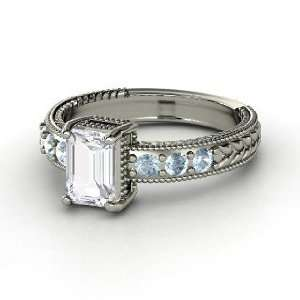 Emerald Isle Ring, Emerald Cut White Sapphire 14K White Gold Ring with