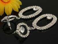 Clear swarovski crystal elliptic party banquet earrings
