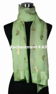 Handmade Silk Embroidered Floral Scarf Shawl Wrap Green