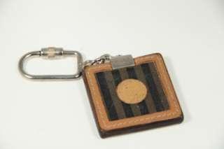 FENDI Italian VINTAGE Tan & Black Square STRIPED KEYRING Key Fob