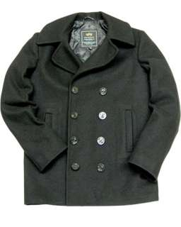 ALPHA INDUSTRIES USN NAVY WOOL PEA COAT BLACK NAVY OLIVE GREEN S M L