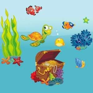 Ocean   Giant Wall Sticker Decals (Kit 82.7 x 39.4 Inches