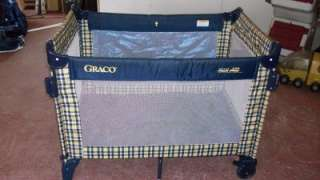 Graco 5 way Travel Pack n Play Playard, Dark Blue & Yellow Plaid