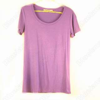 Basic Plain Short Sleeve Crew Round TEE Stretch T Shirts TOP