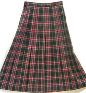 Vtg LL Bean Black & Red WOOL Plaid Pleated Skirt Sz 10
