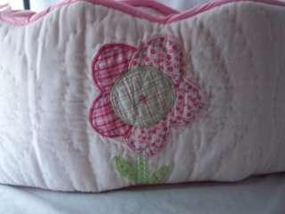 Pottery Barn Kids Flower Pattern Baby Girl Crib Bumper Pink Blue Green
