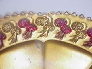 ANTIQUE INTAGLIO GOOFUS GLASS BOWL RED & GOLD PINECONES