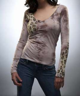 New Boutique Designer Soft Hand Dyed Lavender Leopard Womens Shirt Top