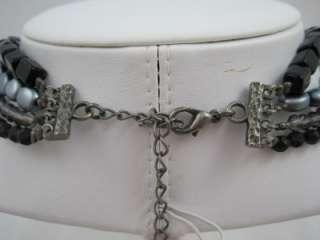 Multi Strand Black Plastic & Grey Faux Pearl Necklace Choker 18