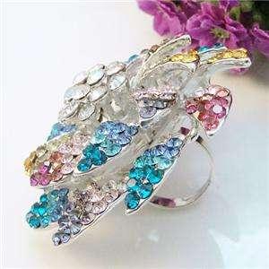 Chic 2.36 Flower Ring Sz Free Multi Swarovski Crystal