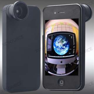 160° Fisheye Fish Eye Detachable Lens + Back Cover Case For iPhone 4S