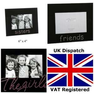 GIRLS / FRIENDS / SISTERS BLACK GLASS 4X6 PHOTO FRAME