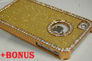 Glitter Glittery Hard iPhone 4 4S back cover case Golden Gold +BONUS