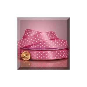 1ea   3/8 X 25yd Hot Pink/White Polka Dots Satin Ribbon