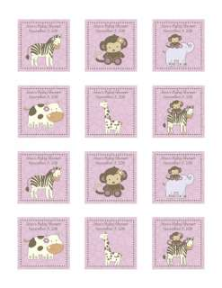 24 Personalized CoCaLo Jacana Girl Baby Shower Stickers   Zebra