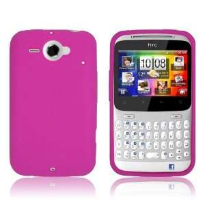 HTC CHACHA / STATUS   HOT PINK SOFT SILICONE SKIN CASE