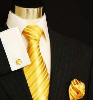 681CH/ New Solid Gold Paul Malone Necktie Set 100% Silk