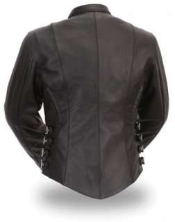 Womens Black Leather Side Buckle Biker Racer Jacket Zip Out Thermal
