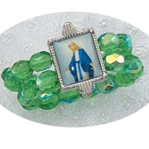 BIRTHSTONE AUGUST GREEN PERIDOT STRETCH RING ST. MARY