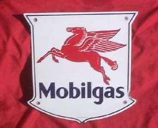 Mobil Oil Gasoline Porcelain Pump Sign Gas Station Flying Horse