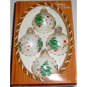 Krebs White with Tree Motif Glass Christmas Ornaments, Set