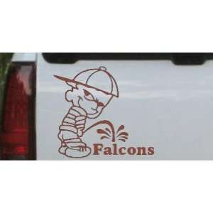 Pee On Falcons Car Window Wall Laptop Decal Sticker    Brown 16in X 14