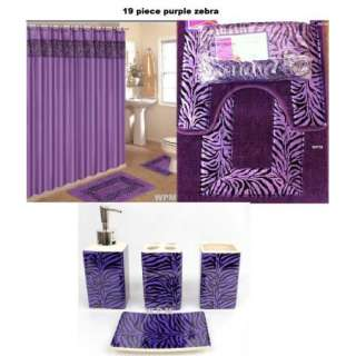 Bath Accessory Set PURPLE zebra animal print rugs shower curtain rings