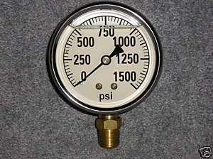 1500# LIQUID FILLED PRESSURE GAUGE AIR WATER HYDRAULIC