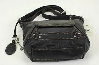 NW Fossil Monreal Black Leaher Large Cross body Purse |