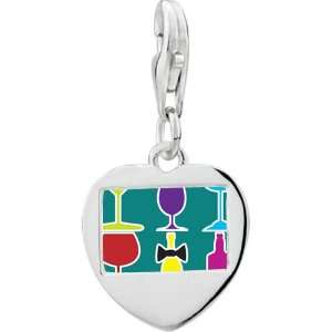 925 Sterling Silver Gold Plated Food Beverage Photo Heart