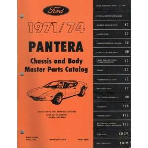 Pantera Chassis and Body Master Parts Catalog 1971 1974